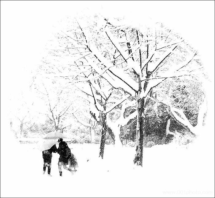 雪景图手绘黑白